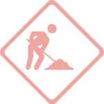 pink under construction sign
